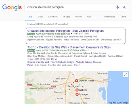 Publicité en ligne Google Adwords Camping Perpignan 66